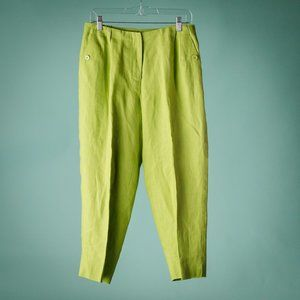 Talbots 12W Lime Green Classic Fit Linen Pants NWT